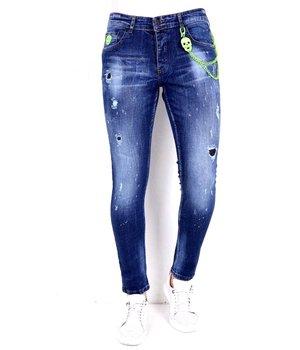 Local Fanatic Jeans Slim Salpicaduras Pintura - 1005 - Azul