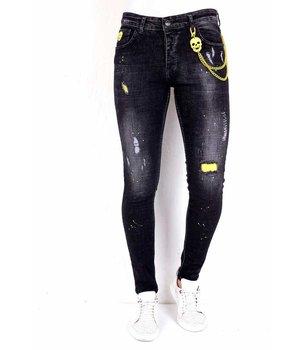 Local Fanatic Jeans Slim Salpicaduras Pintura - 1003 - Negro