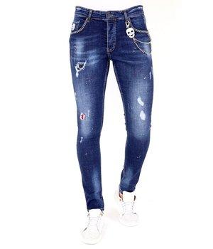 Local Fanatic Jeans Rotos Salpicaduras Pintura - 1025 - Azul