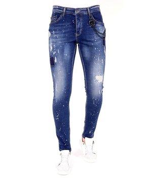 Local Fanatic Pantalones con manchas de pintura - 1026 - Azul
