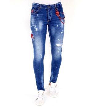 Local Fanatic Jeans Rotos Salpicaduras Pintura - 1030 - Azul