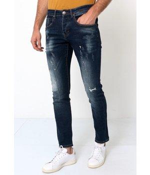True Rise Jeans Rasgados De Hombre - D-3033 - Azul