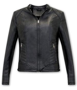 Bludeise Chaqueta De Cuero Mujer Biker - AY109 - Negro