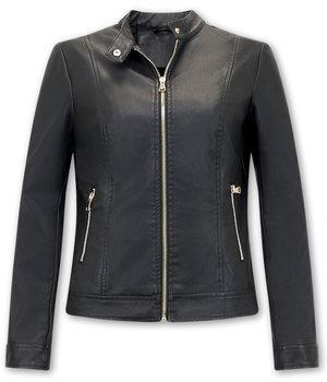 Bludeise Chaquetas De Cuero Moto Mujer - AY332 - Negro