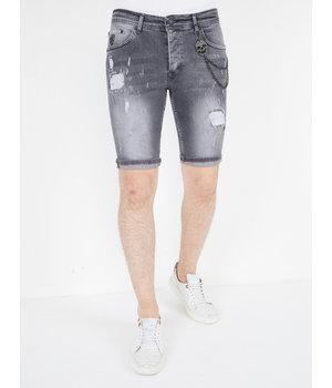 Local Fanatic Pantalones Vaqueros Cortos Rotos Hombre - 1039 - Gris
