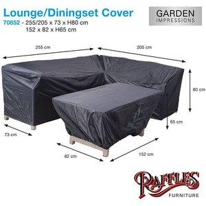Hoes voor loungebank en hocker, 255 x 205 H: 80 cm