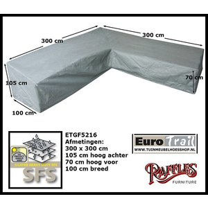 Hoes voor hoekbank hoge rugleuning, 300 x 300 H: 105 / 70 cm