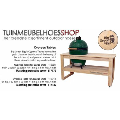 Big Green Egg Hoes voor Big Green Egg Table 152 x 77 H: 80 / 140 cm