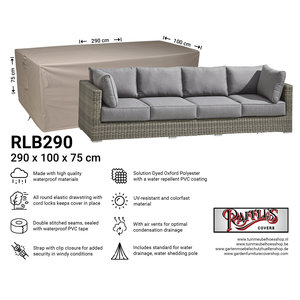 Hoes 3-zits loungebank, 290 x 100 H: 75 cm