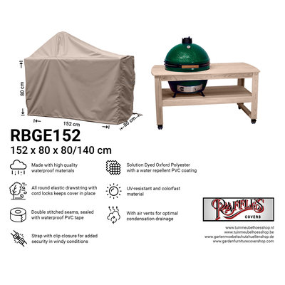 Hoes voor Big Green Egg barbecue 152 x 80 H: 80 / 140 cm