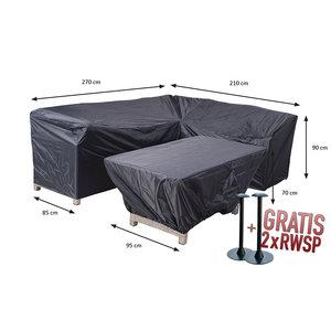 Hoes voor diningset hoekbank en tafel, 270 x 210 x 85 H: 90 cm