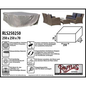 Raffles Covers Schutzhülle für Rattan Lounge Gartenmöbel 250 x 250 H: 70 cm