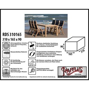 Raffles Covers Schutzhülle für Gartenmöbelset 310 x 165 H: 90 cm
