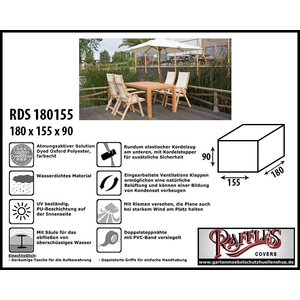 Raffles Covers Abdeckplane für Garten-Tisch und Stühle 180 x 155 H: 90 cm