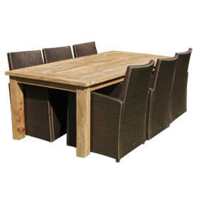 Schutzhüllen für Sitzgruppen, langer Tisch mit Stühlen