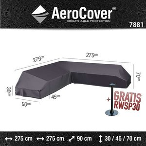 AeroCover Platform Lounge Sofa Abdeckung 275 x 275 x 90 H: 30/45/70 cm