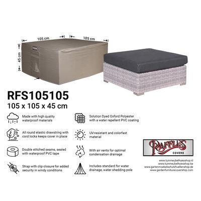 Raffles Covers !!PRE-ORDER - ABWEICHENDE LIEFERZEIT!! Schutzhülle für Lounge Hocker 105 x 105 H: 45 cm