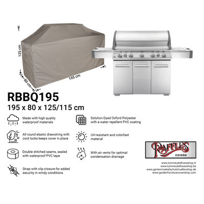 Raffles Covers BBQ Schutzhaube Grill 195 x 80 H: 125/115 cm