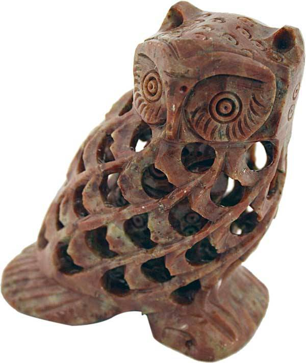Eule Undercut 7,5 cm Speckstein Indien
