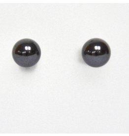 Ohrstecker Hämatit 6 mm nickelfreies Metall