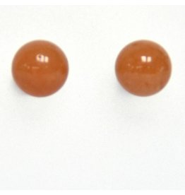 Ohrstecker Aventurin rot 8 mm nickelfreies Metall