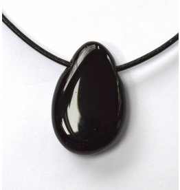 Obsidian schwarz Trommelstein gebohrt