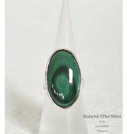 Silberring Malachit bis Größe 18