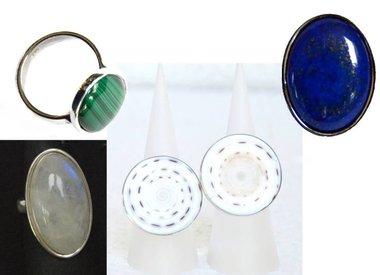 Silberringe mit Edelsteinen