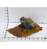 Frosch Blatt Speckstein Peru ca. 7 cm