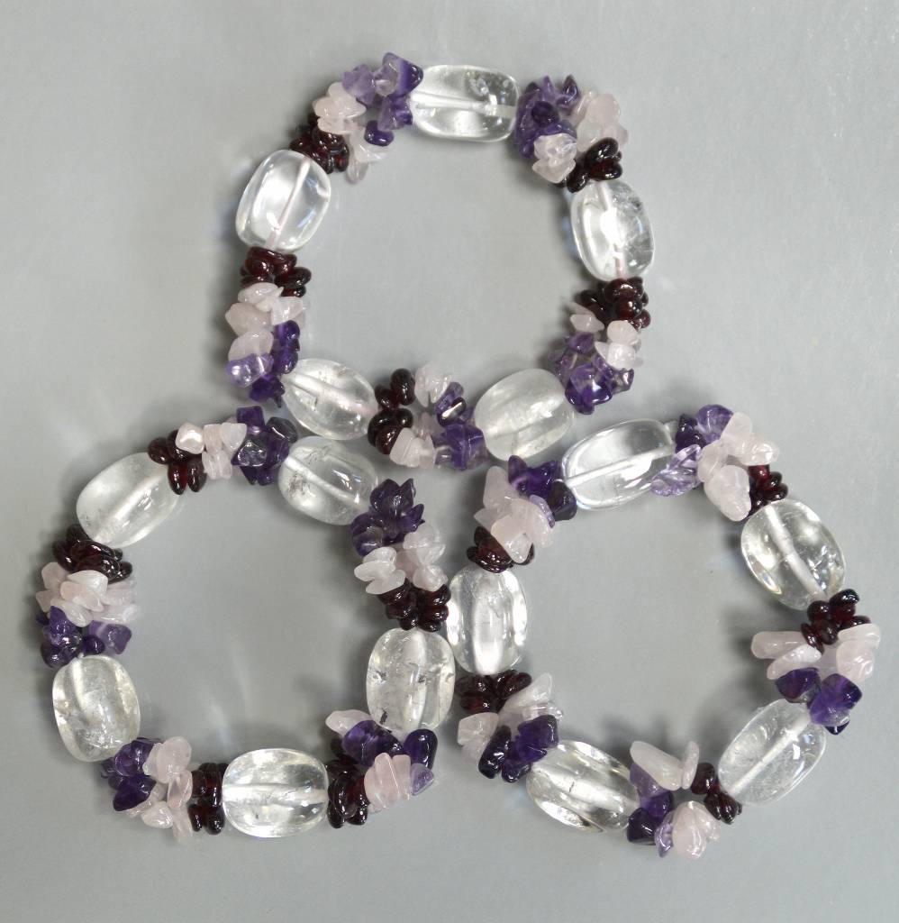 Bergkristall Fashion Armband mit Amethyst, Rosenquarz, Granat