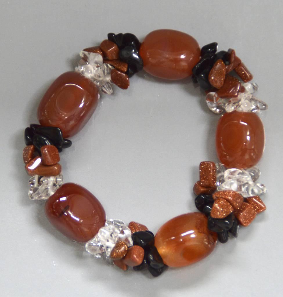 Carneol Fashion Armband mit Goldfluss, Onyx, Bergkristall