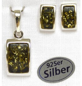 Bernstein Set-Rechteck grün 925er Silber