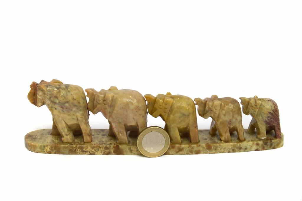 Elefantenreihe 5 Speckstein Indien ca. 18 cm