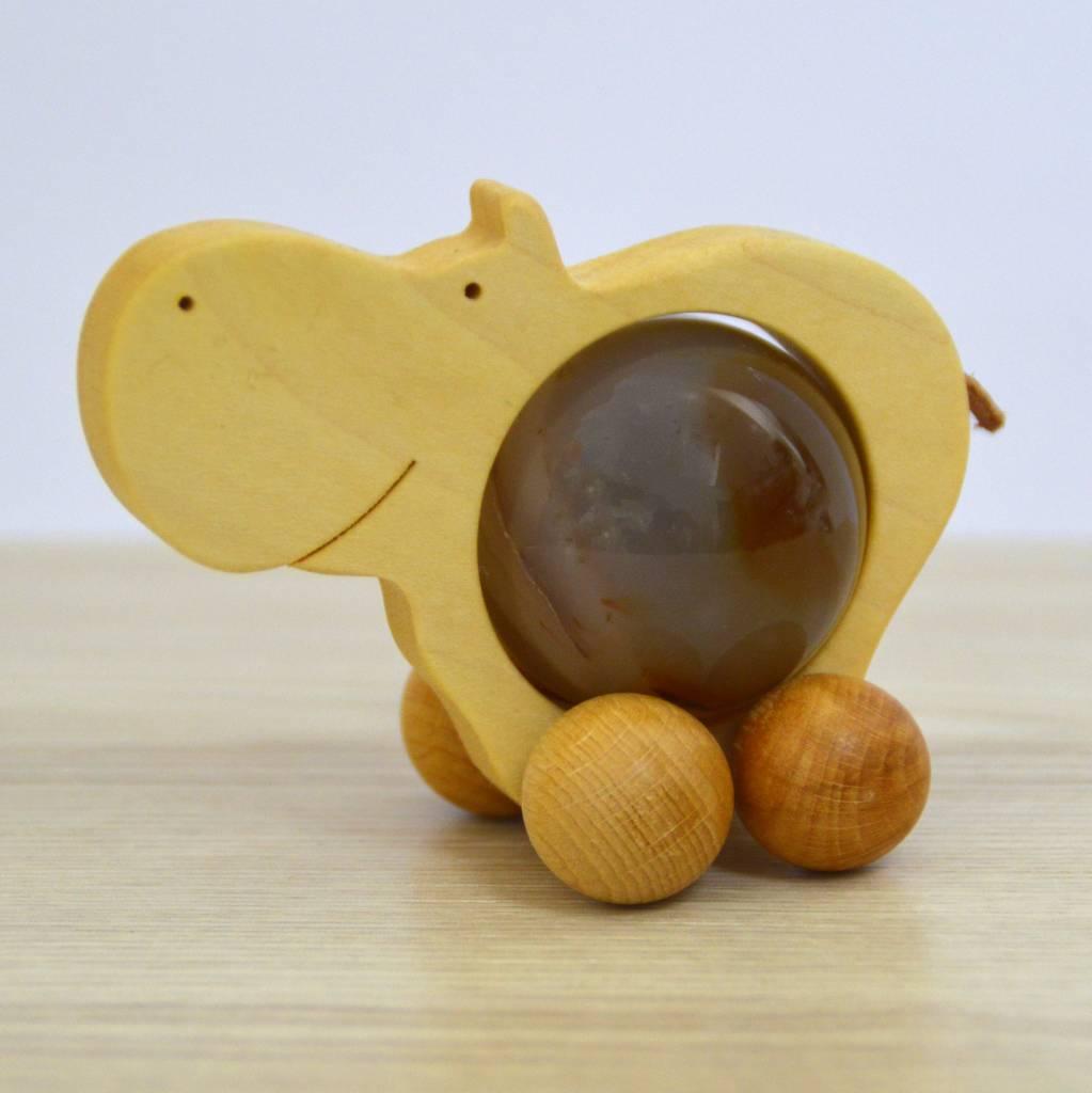 Nilpferd Rolltier groß mit Edelsteinkugel