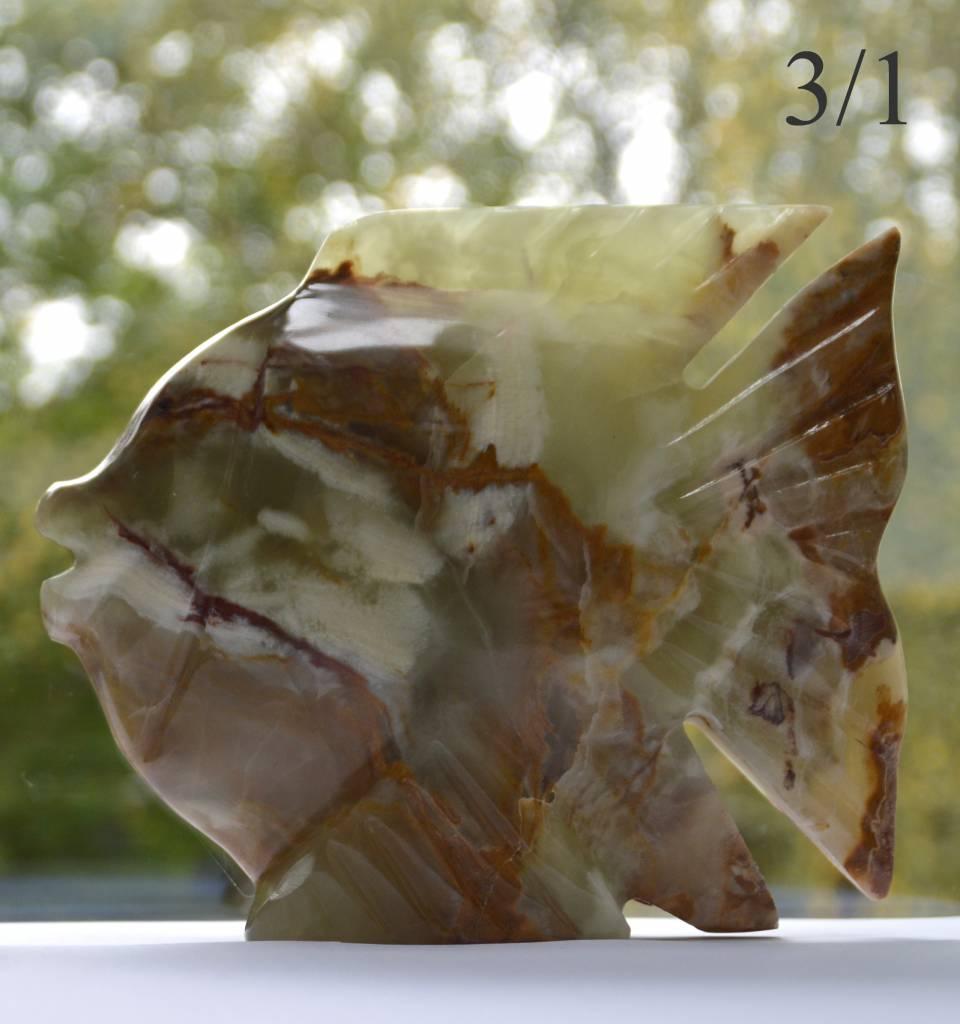 Fischfamilie Seemannsgarn 4-teilig aus Onyx Marmor
