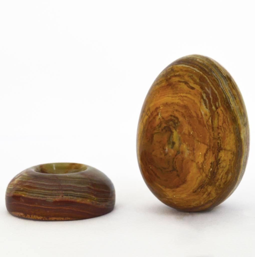 Ei mit Ständer aus Onyx Marmor ca. 7,5 cm