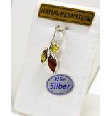 Bernsteinanhänger Herbstlaub klein 925er Silber