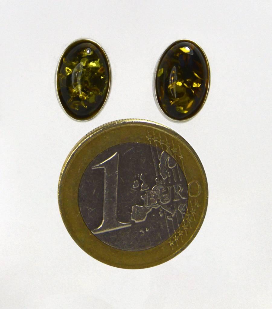 Bernstein Ohrstecker oval 925er Silber - kostbarer Schatz