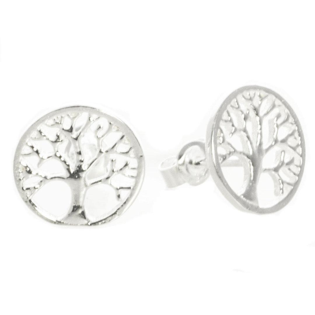 Baum des Lebens Ohrstecker Silber rhodiniert