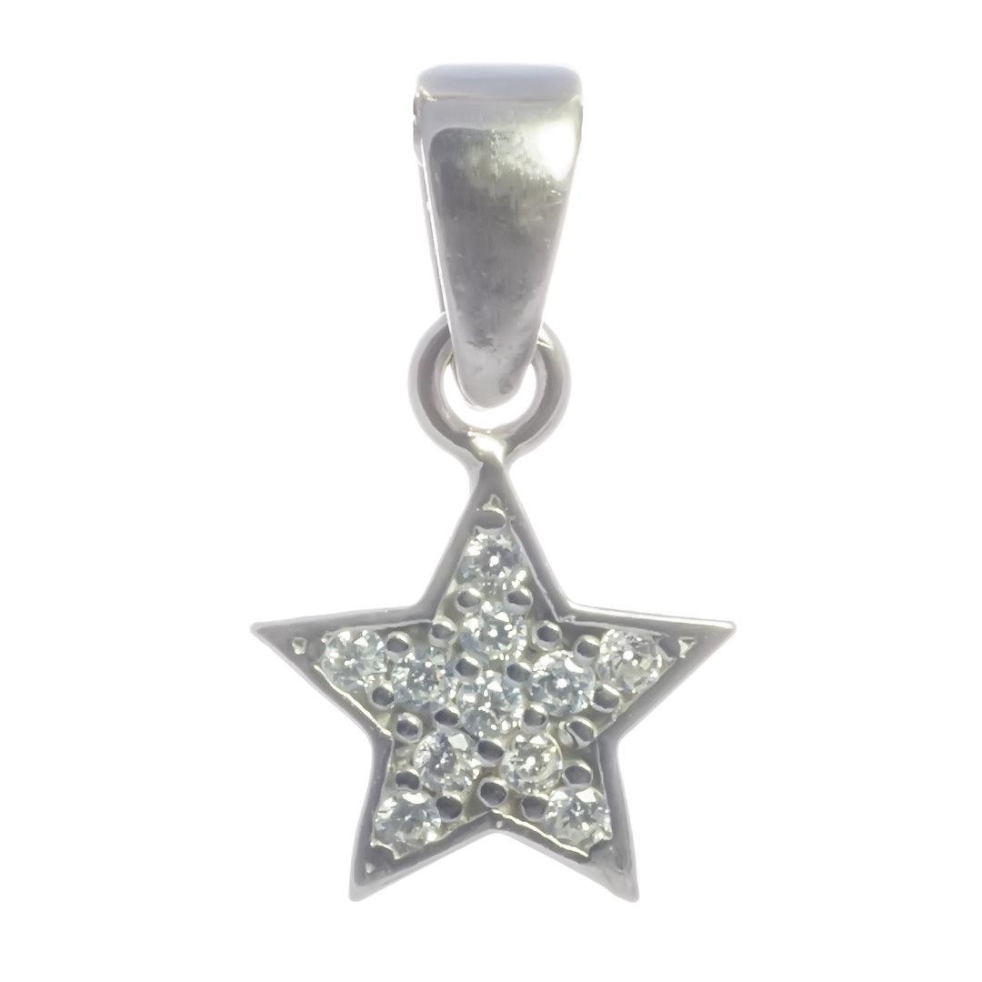 Anhänger Stern 925er Silber rhodiniert mit Zirkonia