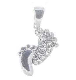 Fussabdruck Mutter & Kind Silber mit Zirkonia