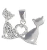 Anhänger Lovecats 925er Silber rhodiniert mit Zirkonia