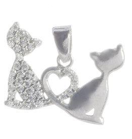 Anhänger Lovecats Silber mit Zirkonia