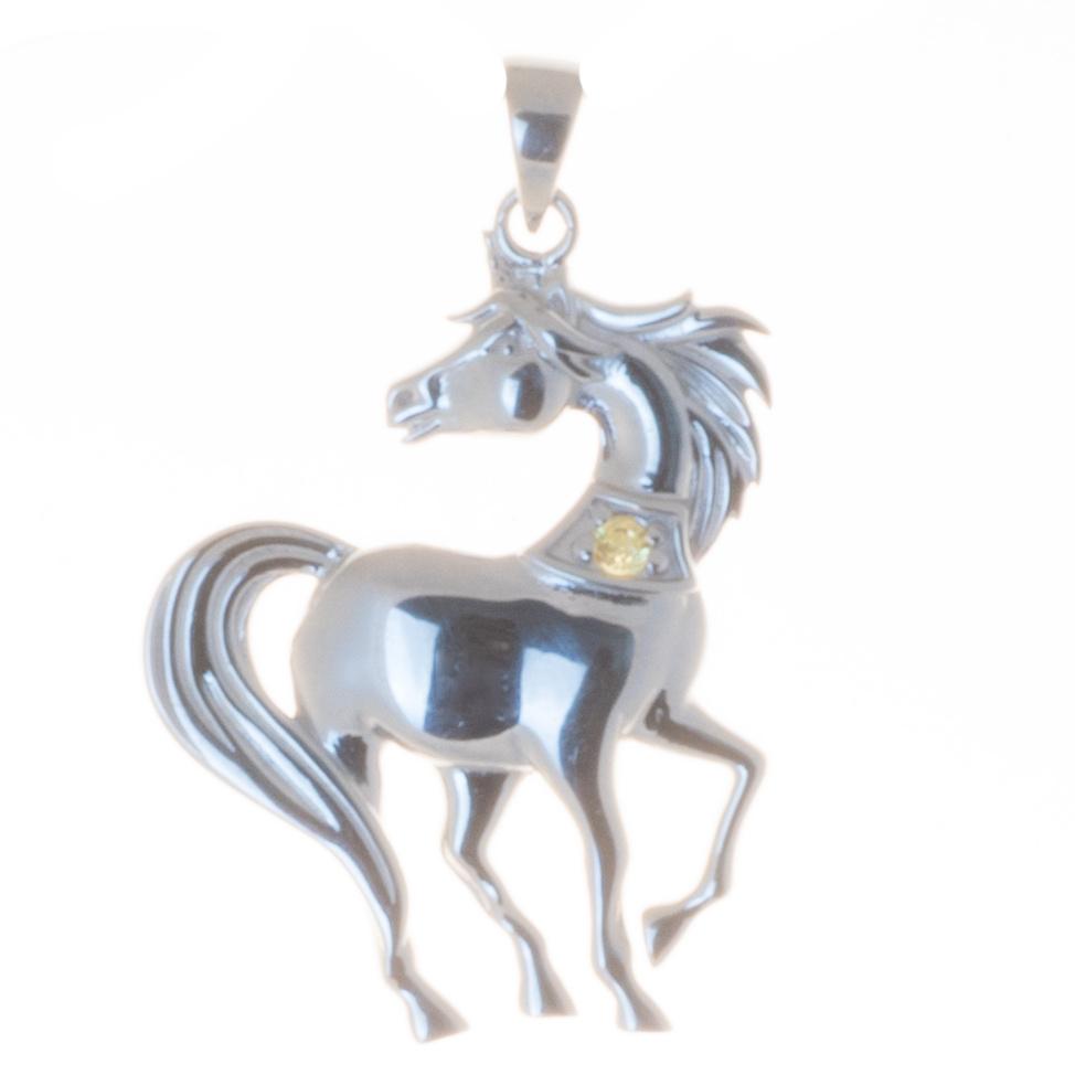 Anhänger Pferd 925er Silber mit kleinem Citrin