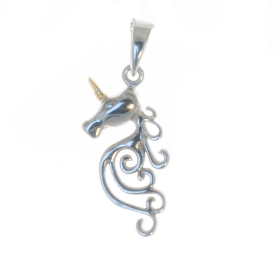 Anhänger Einhorn Silber mit vergoldetem Horn