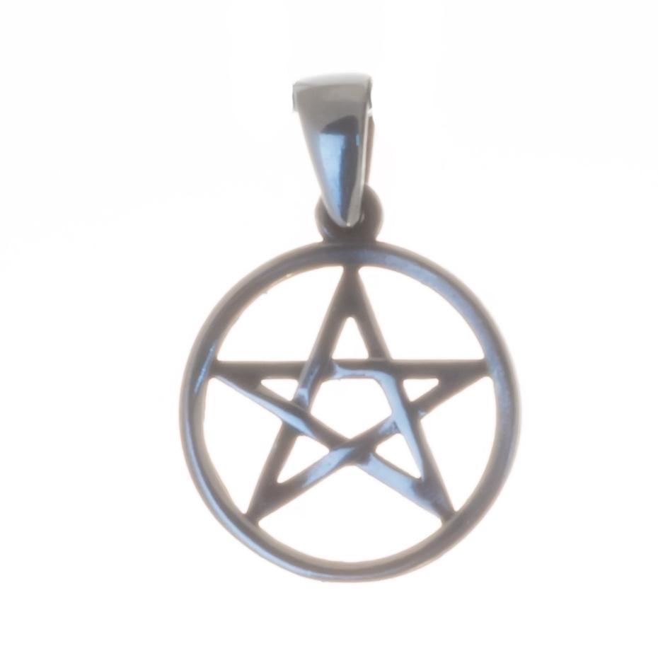 Pentagramm Silberanhänger leicht geschwärzt