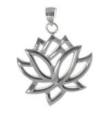 Lotusblüte Silberanhänger rhodiniert