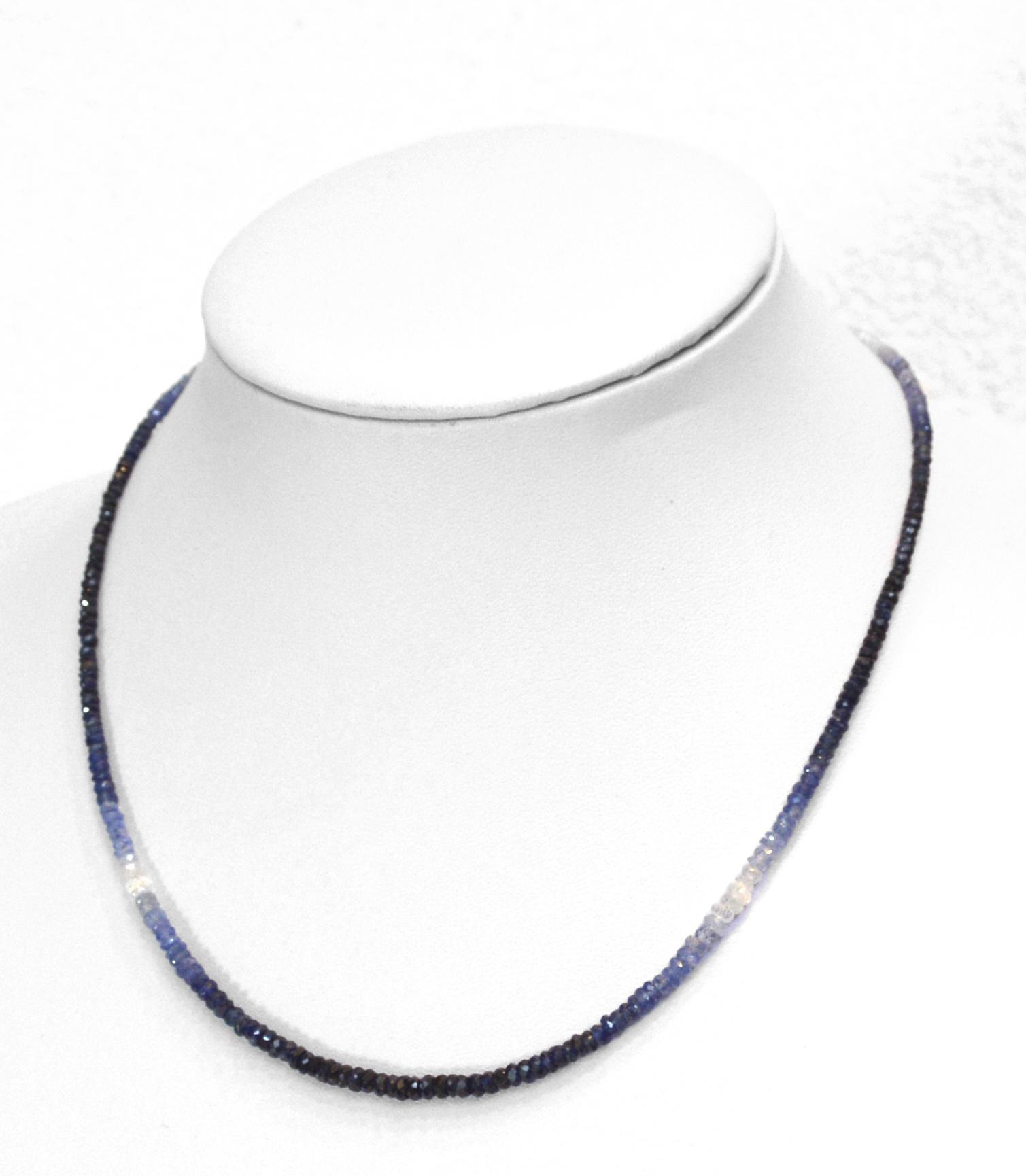 Saphir blau Kugelkette facettiert Farbverlauf