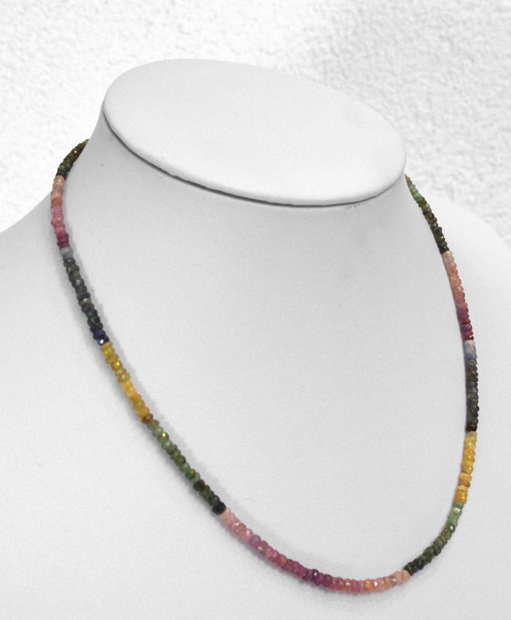 Rubin Saphir Smaragd Kugelkette facettiert ca. 45 cm