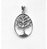 Baum des Lebens Silberanhänger oval rhodiniert